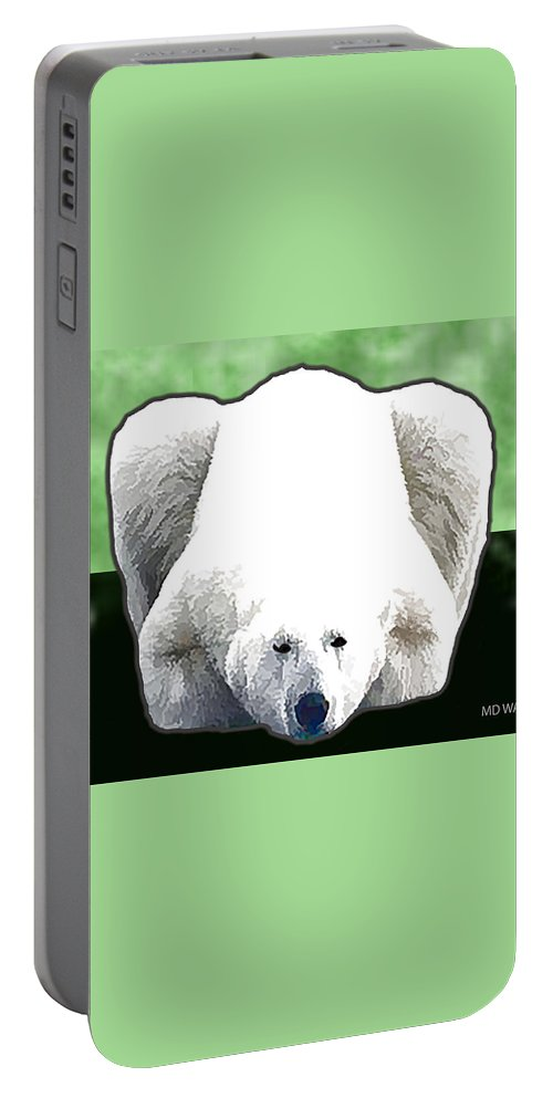 Animals Portable Battery Charger featuring the digital art Polar Bear - Green by Marlene Watson