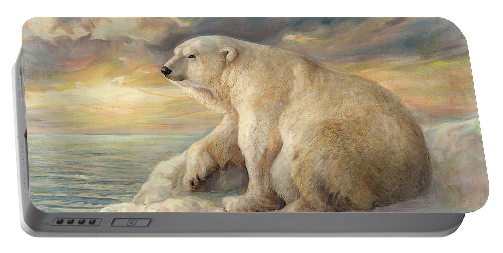 Polar Bear Portable Battery Charger featuring the painting Polar Bear Rests On The Ice - Arctic Alaska by Svitozar Nenyuk