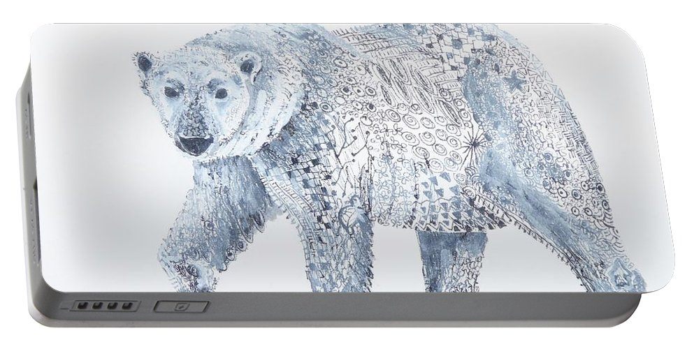 Bear Portable Battery Charger featuring the painting Polar Bear by Yvonne Ankerman