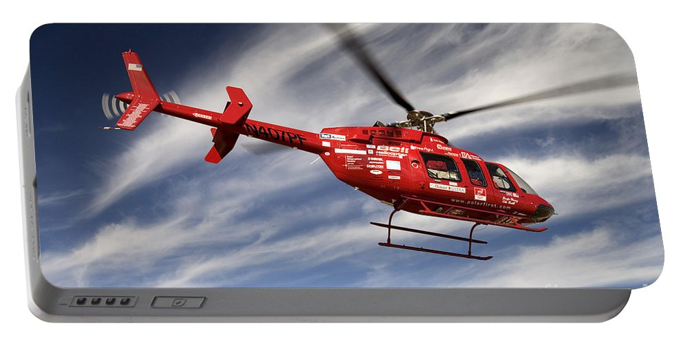 Helicopter Portable Battery Charger featuring the photograph Polar First Helicopter by Inga Spence