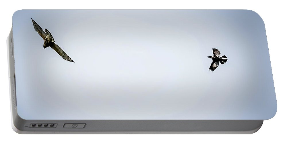 Hawk Portable Battery Charger featuring the digital art Police Bird Chasing Away Predator by Ed Stines