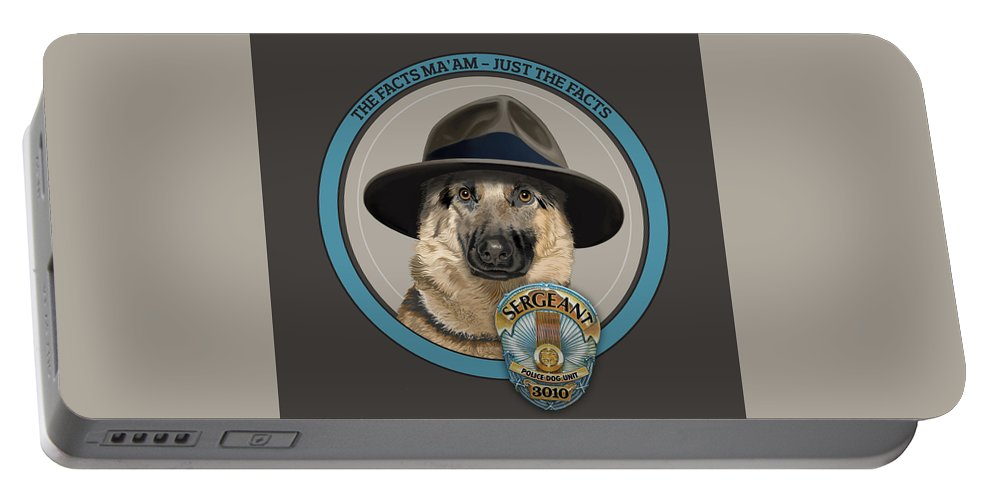 Police Dog Portable Battery Charger featuring the digital art Police Dog by Gene Sherman