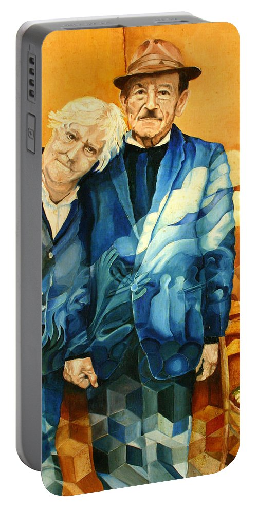 Drawing Portable Battery Charger featuring the painting Polish Immigrants by Gideon Cohn