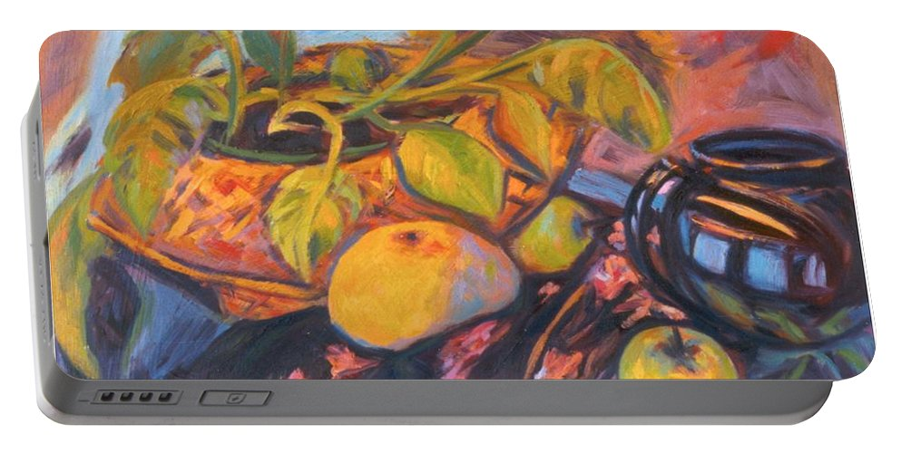 Still Life Portable Battery Charger featuring the painting Pollys Plant by Kendall Kessler