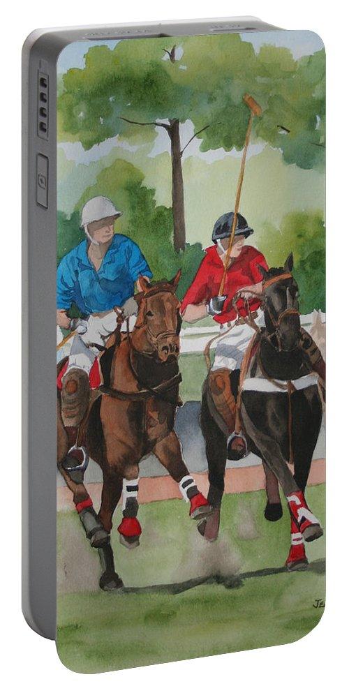 Polo Portable Battery Charger featuring the painting Polo In The Afternoon 2 by Jean Blackmer
