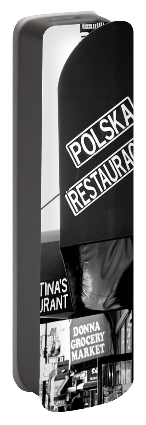 Signage Portable Battery Charger featuring the photograph Polska Restauracja by John Schneider