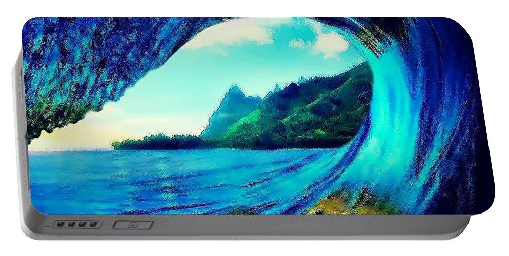 Surf Portable Battery Charger featuring the digital art Polu Ka Wai by Keith Kos