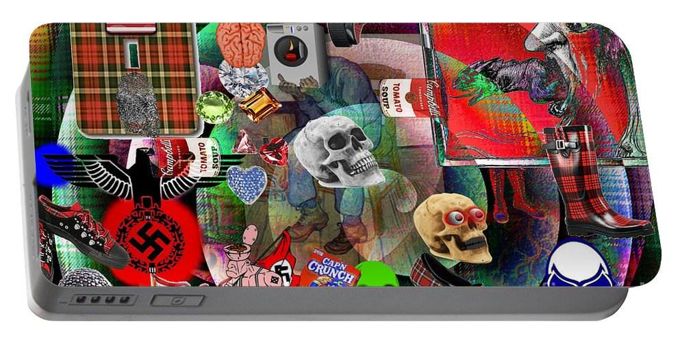 Surreal Portable Battery Charger featuring the photograph Polyester Plaid by Lewis Lang