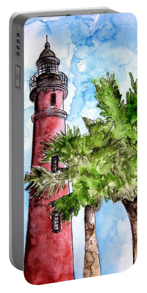 Ponce De Leon Portable Battery Charger featuring the painting Ponce De Leon Inlet Florida Lighthouse Art by Derek Mccrea