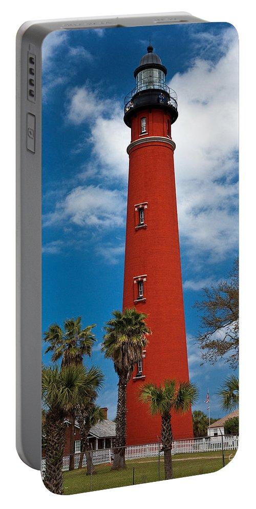 Lighthouse Portable Battery Charger featuring the photograph Ponce Inlet Lighthouse by Christopher Holmes