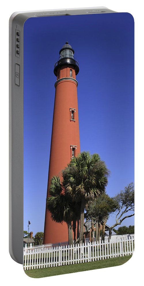 Florida Portable Battery Charger featuring the photograph Ponce Inlet Lighthouse by Deborah Benoit