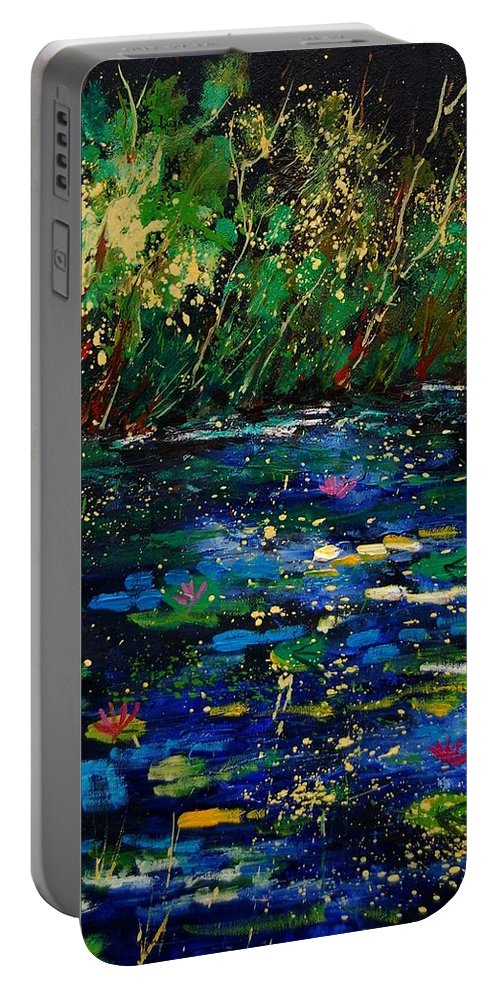 Water Portable Battery Charger featuring the painting Pond 459030 by Pol Ledent