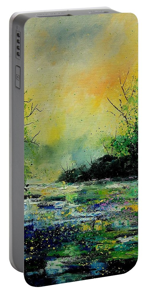 Water Portable Battery Charger featuring the painting Pond 459060 by Pol Ledent