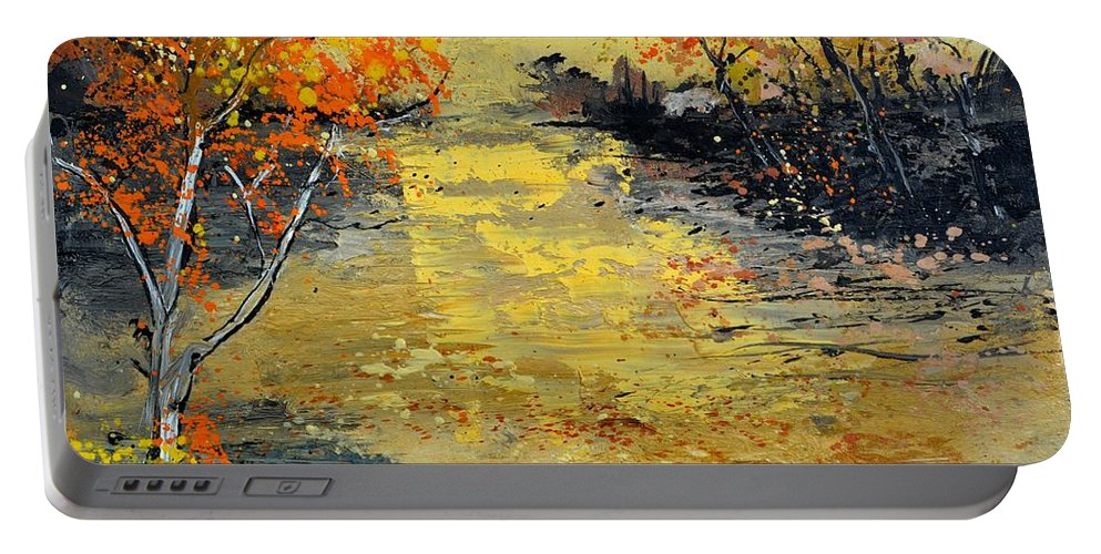 Landscape Portable Battery Charger featuring the painting Pond 556180 by Pol Ledent