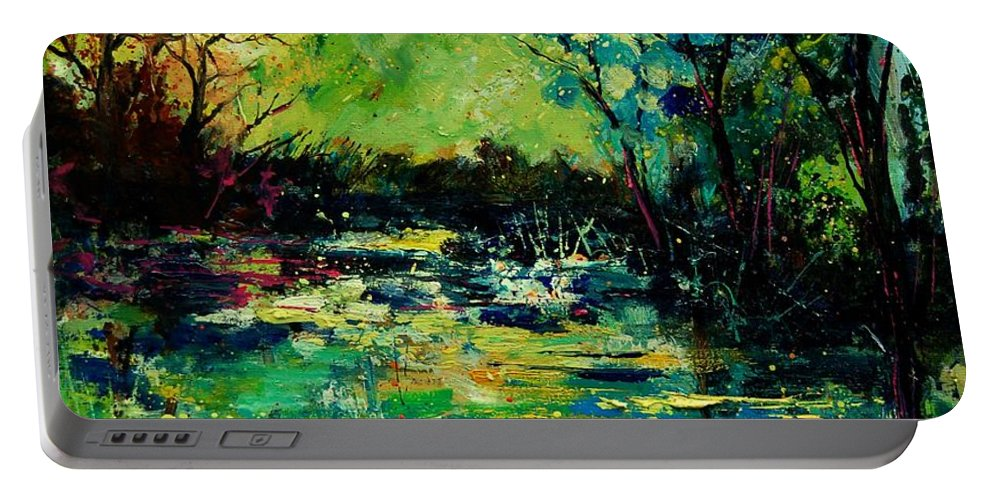Pond Portable Battery Charger featuring the painting Pond 560120 by Pol Ledent