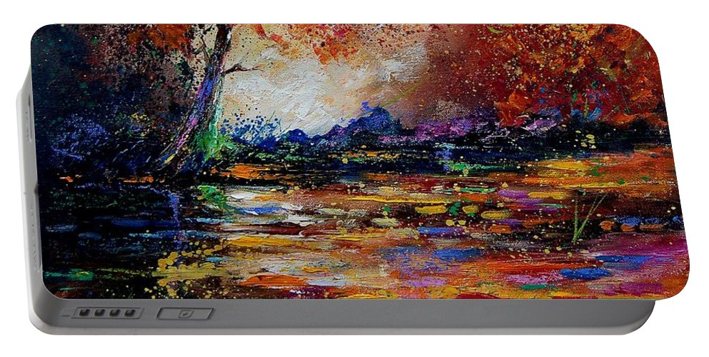 River Portable Battery Charger featuring the painting Pond 671254 by Pol Ledent