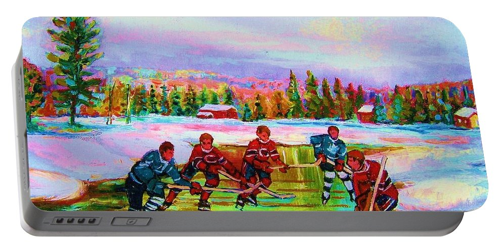 Hockey Portable Battery Charger featuring the painting Pond Hockey Blue Skies by Carole Spandau