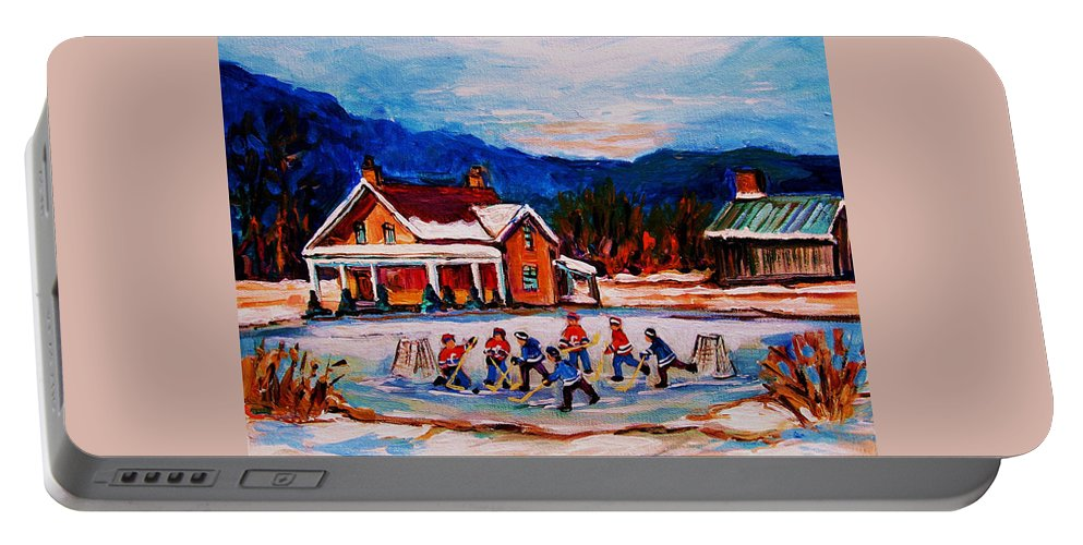 Hockey Portable Battery Charger featuring the painting Pond Hockey by Carole Spandau