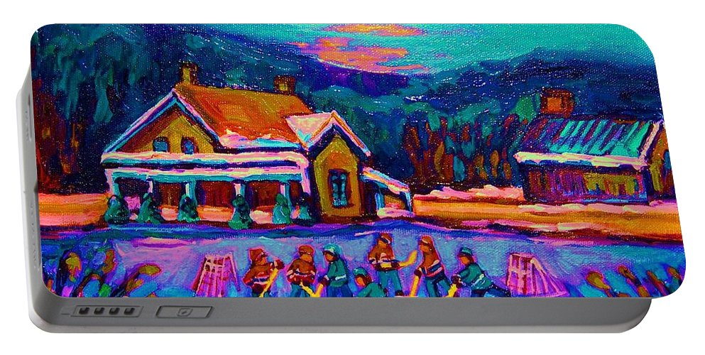 Pond Hockey Portable Battery Charger featuring the painting Pond Hockey Two by Carole Spandau