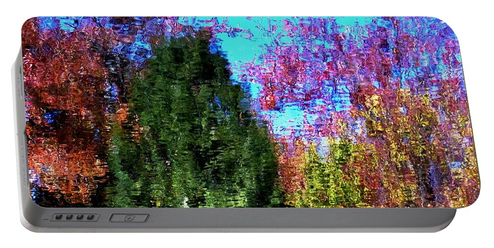 Outdoors Portable Battery Charger featuring the photograph Pond Impressionism by Charles Ford