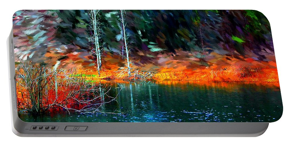 Digital Photograph Portable Battery Charger featuring the photograph Pond In The Woods by David Lane