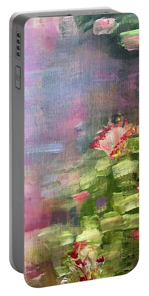Inspired By Monet Portable Battery Charger featuring the painting Pond by Katy Flach