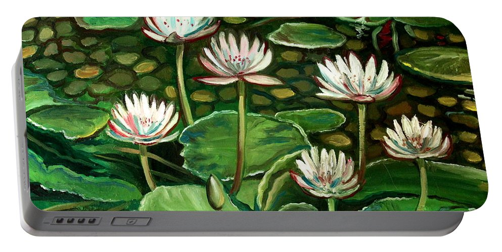 Water Portable Battery Charger featuring the painting Pond Of Petals by Elizabeth Robinette Tyndall