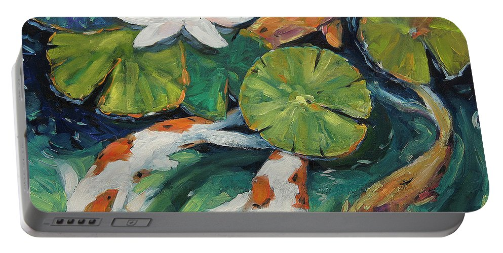 Seascape Portable Battery Charger featuring the painting Pond Swimmers Koi by Richard T Pranke