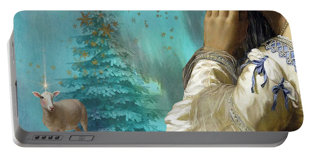 Portraiture Portable Battery Charger featuring the painting Pondering Peace by Laura Botsford