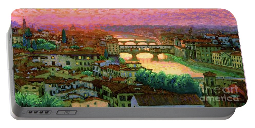 Italy Portable Battery Charger featuring the painting Ponte Vecchio Sunset Florence by Jane Small