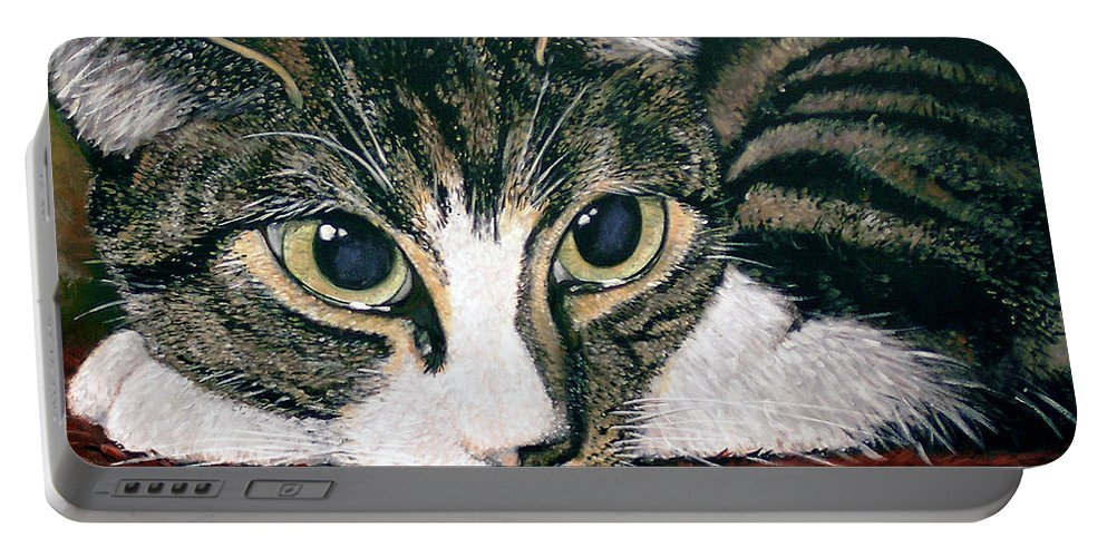 Cat Portable Battery Charger featuring the painting Pooky by Arie Van der Wijst
