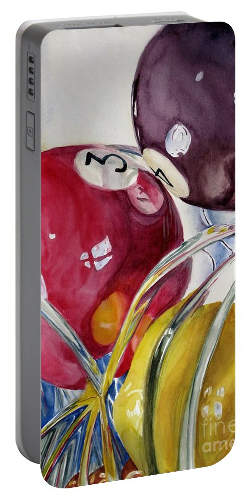 Still Life Portable Battery Charger featuring the painting Pool Balls In A Vase by Karen Boudreaux