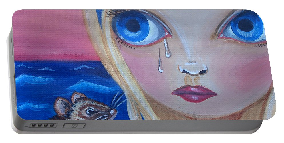 Pool Of Tears Portable Battery Charger featuring the painting Pool Of Tears by Jaz Higgins