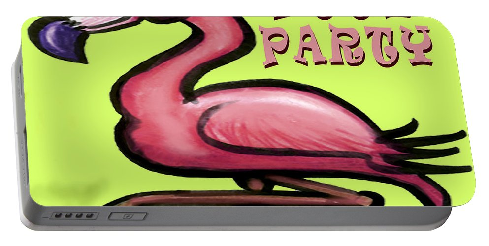 Pool Portable Battery Charger featuring the greeting card Pool Party by Kevin Middleton