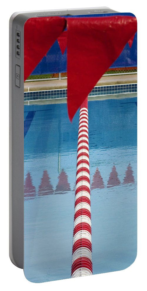 Flag Portable Battery Charger featuring the photograph Pool by Skip Hunt