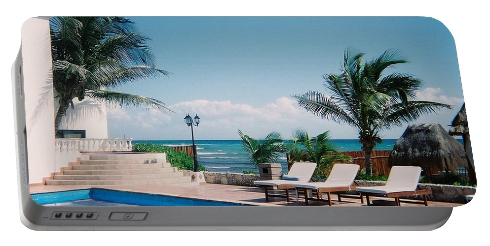 Resort Portable Battery Charger featuring the photograph Poolside by Anita Burgermeister