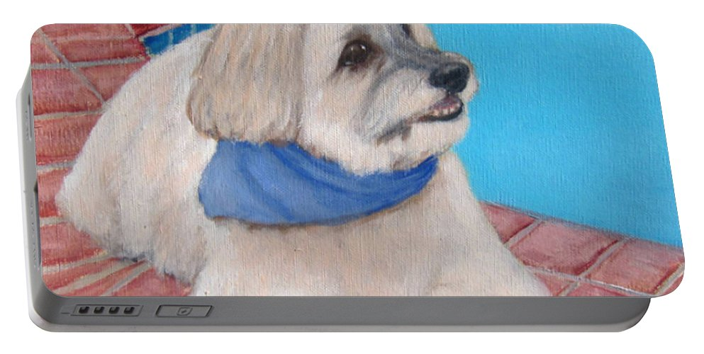 Dogs Portable Battery Charger featuring the painting Poolside Puppy by Laurie Morgan
