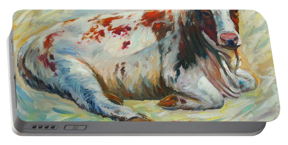 Livestock Portable Battery Charger featuring the painting Poor Miss Bessie by Rick Nederlof