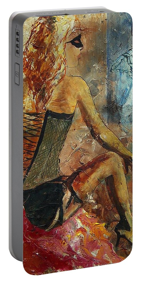 Girl Portable Battery Charger featuring the painting Poor Pierrot by Pol Ledent