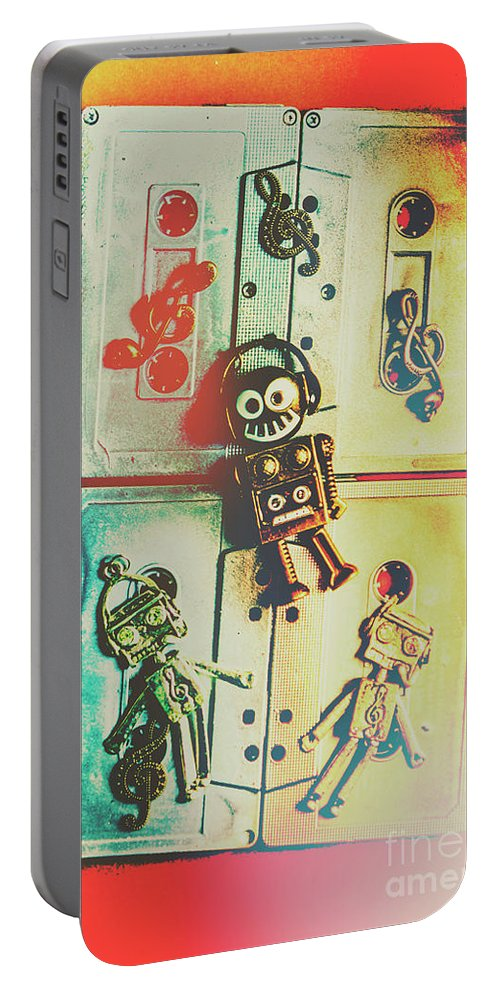 Pop Portable Battery Charger featuring the photograph Pop Art Music Robot by Jorgo Photography - Wall Art Gallery