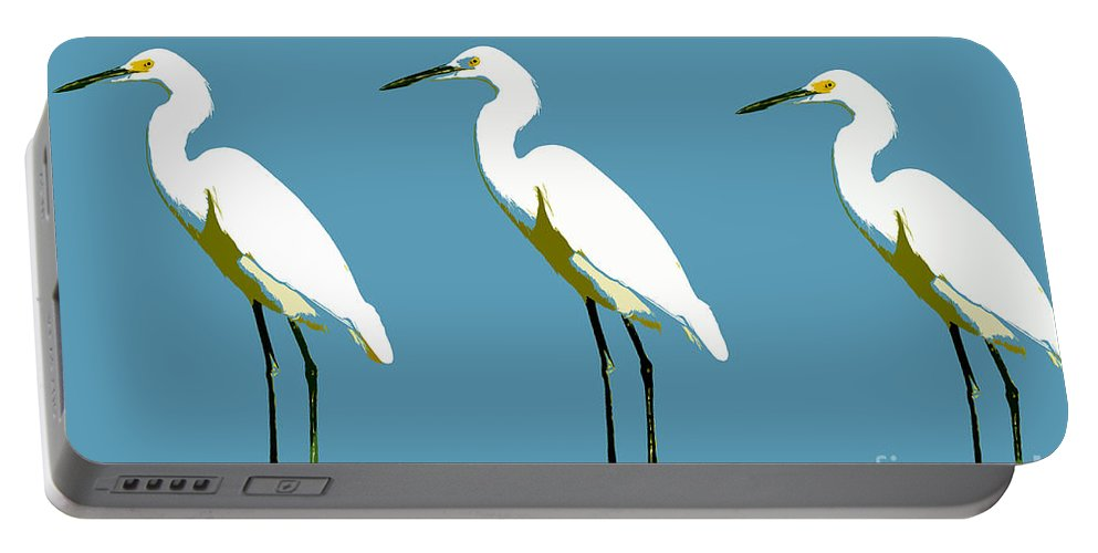 Egrets Portable Battery Charger featuring the painting Pop Egrets by David Lee Thompson
