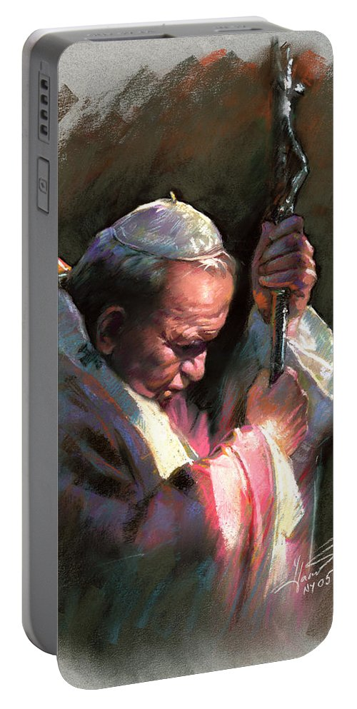Portrait Portable Battery Charger featuring the pastel Pope John Paul II by Ylli Haruni