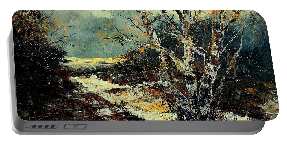 Tree Portable Battery Charger featuring the painting Poplars 45 by Pol Ledent