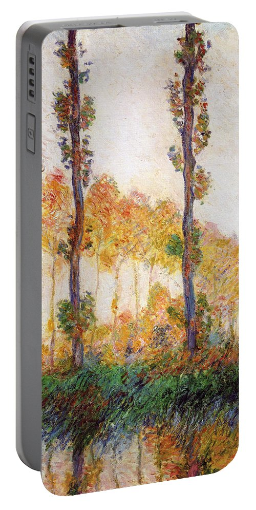 Claude Monet Portable Battery Charger featuring the painting Poplars, Autumn by Claude Monet