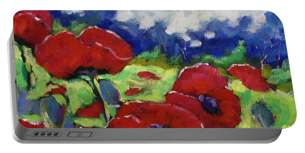 Art Portable Battery Charger featuring the painting Poppies 003 by Richard T Pranke