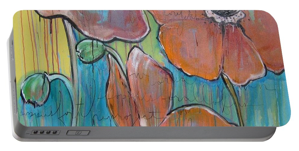 Pop Art Portable Battery Charger featuring the painting Poppies 3 by Laurie Maves ART