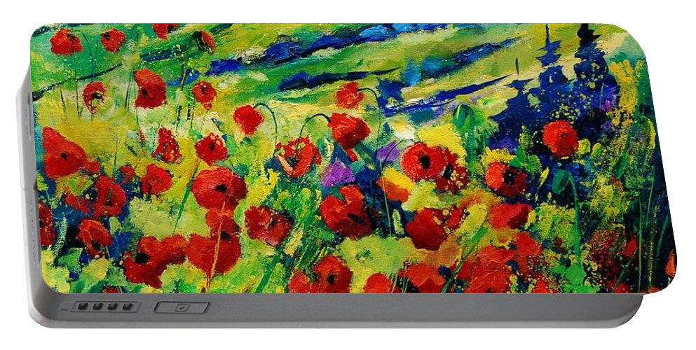 Flowers Portable Battery Charger featuring the painting Poppies 78 by Pol Ledent