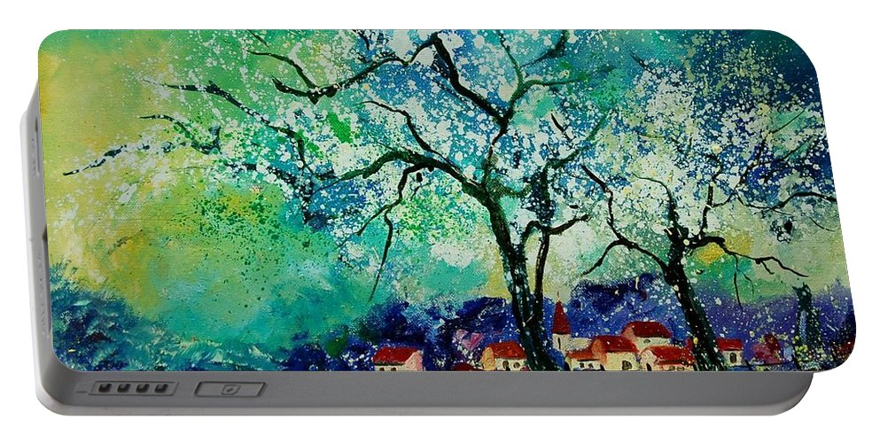 Landscape Portable Battery Charger featuring the painting Poppies And Appletrees In Blossom by Pol Ledent