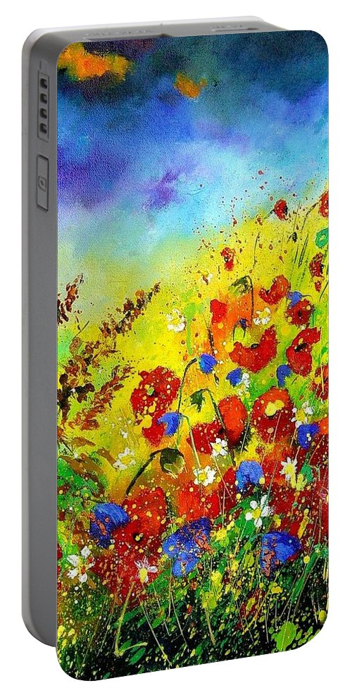 Poppies Portable Battery Charger featuring the print Poppies And Blue Bells by Pol Ledent