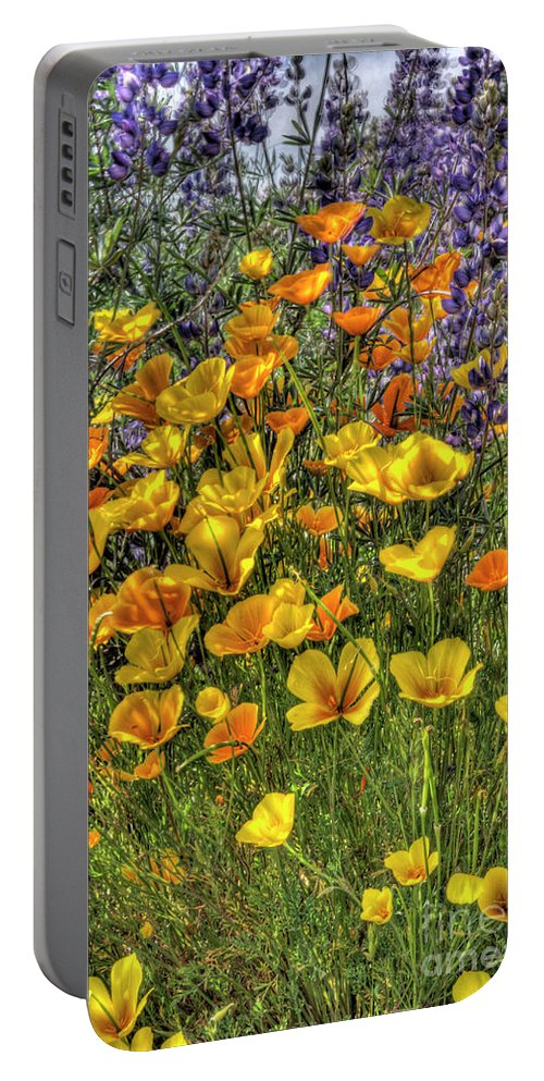 Poppy Portable Battery Charger featuring the photograph Poppies And Lupines by Jim And Emily Bush